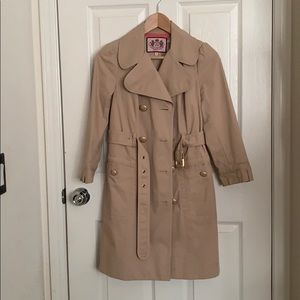 Like new Juicy Couture beige belted trench coat